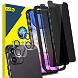 [4 Pack] YMHML 2 Pack Privacy Screen Protector for iPhone 11 (6.1 Inch)+ 2 Pack Camera Lens Protector, Tempered Glass Anti Spy Bubble Free Case Friendly Film with [Installation Alignment Frame]