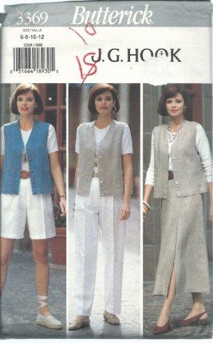 Butterick 3369 Sewing Pattern Misses J.G.Hook Vest Skirt Shorts Pants Size 6-12