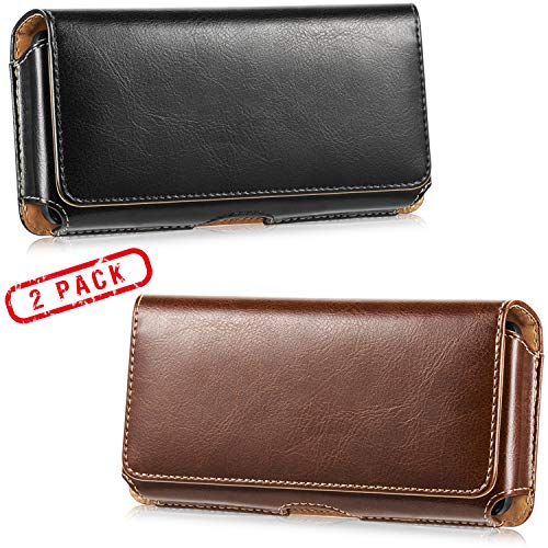 2 Pack Horizontal Leather Cell Phone Holster - LUXMO Genuine Leather Belt Clip Holster Pouch Carrying Cover Case for iPhone 8 Plus/ 7 Plus/Galaxy S10 Plus/ S9 Plus/ S8 Plus (Black + Brown)