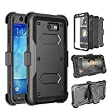 Tinysaturn Galaxy J7 2017 Case, J7 Perx Case, J7 Sky Pro Case, [Yvenus]Shockproof Holster Built-in Screen Protector Belt Clip Kickstand Rugged Phone Case for Samsung Galaxy J7 2017/J7 Prime/J7 V-Black