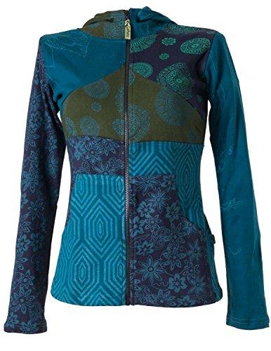 Vishes – Alternative Bekleidung – Kurze, leichte Patchworkjacke aus Baumwolle mit Kapuze türkis 44