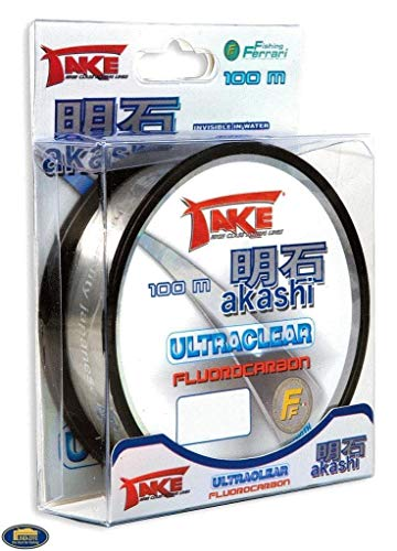 TAKE Akashi Ultraclear - Sedal de pesca (de fluorocarbono, invisible, 0,25 mm, 10 kg, 100 m)