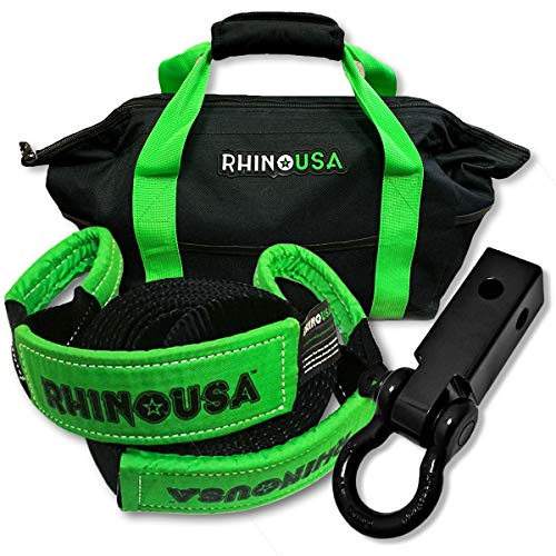 Rhino USA Combo Recovery Tow Strap (30ft) & Shackle Hitch Receiver - Lab Tested 31,518lb Break Strength - Heavy Duty Storage Bag Included - Triple Reinforced Loop End to Ensure Peace of Mind