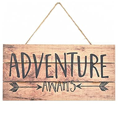 MRC Wood Products Adventure Awaits Rustic Wooden Plank Sign 5x10
