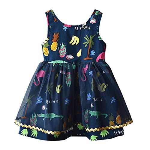 Livoral Mädchen Cartoon Party Prinzessin Kleid Kleinkind Kind Baby Kleidung drucken Tüll Pettiskirt(Marine,130)
