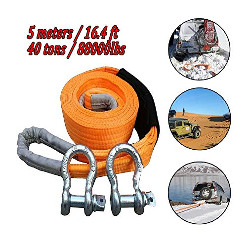 Great Deal! Gjjtcd 5M/16.4ft Car Traction Rope 40T/88000 Lbs Heavy Duty Car Tow Cable Towing Pull Ro...