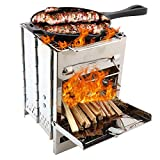 Elikliv Outdoor Camping Stove Barbecue Grill Stove, Mini <span class='highlight'>Square</span> Stainless Steel Portable Foldable Firewood Stove <span class='highlight'>Charcoal</span> Furnace Stove for BBQ Picnic Camping Grill