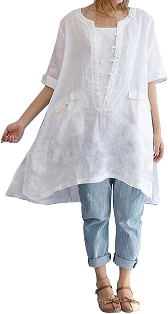 Misaky Plus Size Women's Irregular Fashion Loose Short Sleeved Linen Shirts Loose Long Tunic Tops for Leggings