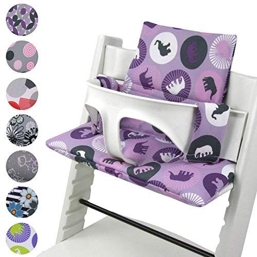 BambiniWelt - Juego de cojines de asiento para trona Stokke Tripp Trapp, 20 colores, cojín de repuesto 2 piezas Elefantes lila.