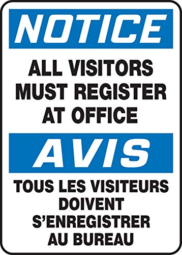 Accuform Notice All Visitors Must Register at Office (FBMADM893XP)