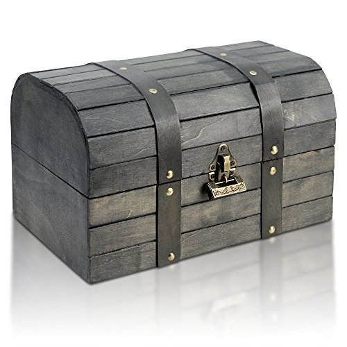 Brynnberg - Caja de Madera Cofre del Tesoro con candado Pirata de Estilo Vintage, Diseño Retro 31x20x18cm