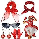 HAMOOM 5 Pezzi Costume Cosplay Anni '50 Occhiali da Sole Orecchini Donna Sciarpa San Fermi...