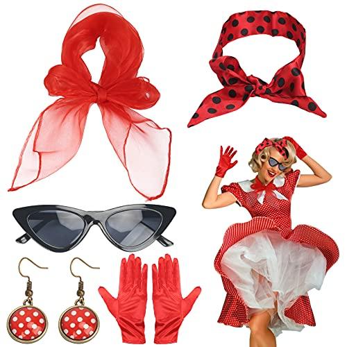HAMOOM 5pcs Disfraz Cosplay Los Años 50 Gafas de Sol Pendientes Mujer Pañuelo San Fermin Guantes Rojo Vestidos Accesorio Vintage Mujer Años 50 Decoracion Retro Fiesta Carnaval Halloween Moda 50s