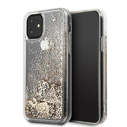 Guess Glitter Gold Funda para iPhone 11 Transparente Glitter Líquido