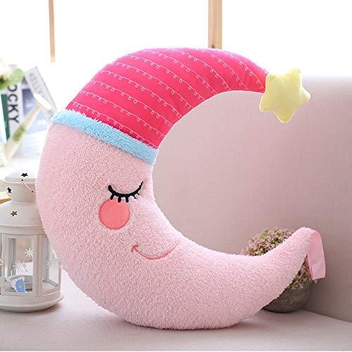 Eogrokerr Almohada de peluche suave de dibujos animados nube agua luna estrella felpa, regalo de cumpleaños para niños, decoración de peluche para habitación de niños (luna rosa, 1 unidad)