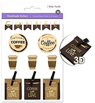 AoneFun Coffee Scrapbook Stickers for Coffee Scrapbooking Stickers for Coffee Scrapbook with Multi-Texture Materials - Coffee Stickers Handmade Paper Stickers Pop-up Stickers Layered Stickers