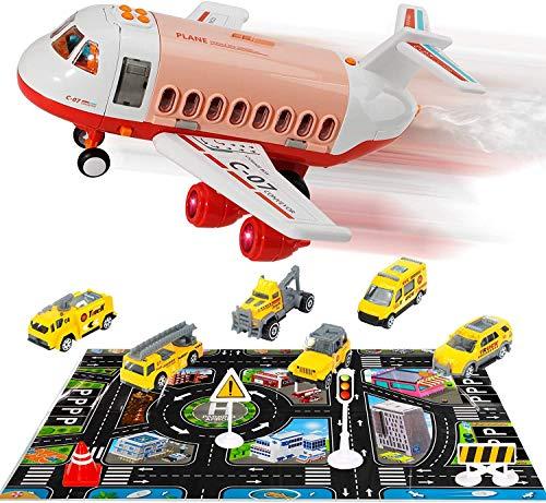 Flugzeug Spielzeug Auto Spielzeug Set - mit Trägheitsrad Transport Frachtflugzeug Mini Educational Baufahrzeuge Spielset für 3-6 Jahre alt Kinder Kinder Jungen Mädchen Flugzeug Spielzeug Geschenk