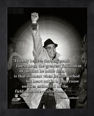 Vince Lombardi Green Bay Packers Framed ProQuote - Fist Pump