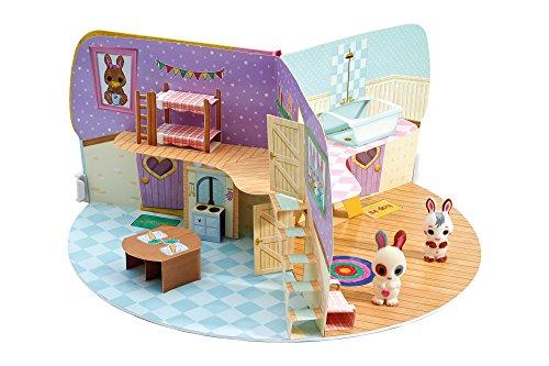 TOMY - Fuzzikins Chez Ma Famille Lapinous à Colorier et Leur Maison à Personnaliser E72789, Coloriage Enfant Effaçable, Figurines Lapins, Jouet Créatif pour Filles de 4 ans+