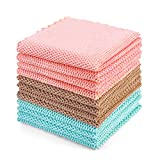 YouCoulee 100% Cotton Dish Cloths Kitchen Dish Towels 12 Packs, Novel Rice Grains Construction Weave Dishcloth Wash Cloths for Easy Cleaning, Super Soft and Absorbent, 12 x 12Inches, Gray/Blue/Pink