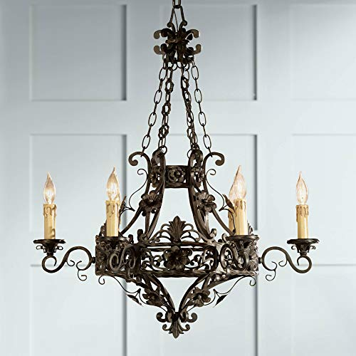 Merrifield Dark Bronze Chandelier 28' Wide French Country Cottage Scroll Faux Candle 6-Light Fixture for Dining Room House Foyer Kitchen Island Entryway Bedroom Living Room - Franklin Iron Works