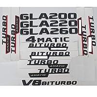 車のトランクレターワードバッジ3Dマットブラックトランクレターバッジエンブレムエンブレムバッジステッカー、メルセデスベンツGLA200 GLA220 GLA250 V8 BITURBO AMG 4MATIC