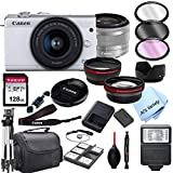 Canon EOS M200 (White) Mirrorless Digital Camera with 15-45mm Zoom Lens Lens + 128GB Card, Tripod, Case, and More (24pc Bundle)