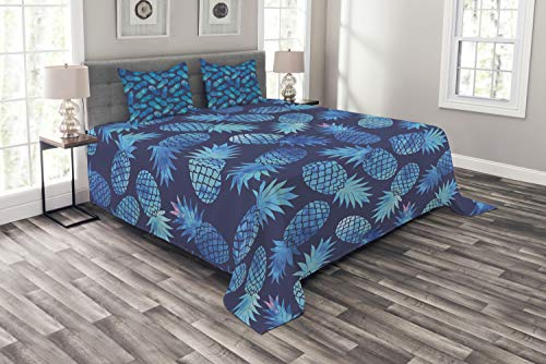 Ambesonne Modern Bedspread, Pineapple Pattern Exotic Fruit in Digital Watercolor Illustration, Decorative Quilted 3 Piece Coverlet Set with 2 Pillow Shams, King Size, Night Blue Turquoise