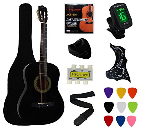 "YMC 38"" Black Beginner Acoustic Guitar Starter Package Student Guitar With Gig Bag,Strap,3 Thickness 9 picks,2 Pickguards,Pick Holder,Extra Strings,Electronic Tuner-Black"