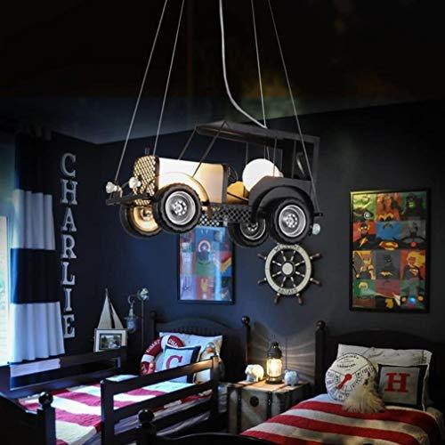 Tienda de ropa industrial retro del coche araña de la moda arte creativo colgante de comedor de la vendimia Luz del estudio de la lámpara decorativa colgante E27 * 1 + noche color de la l.