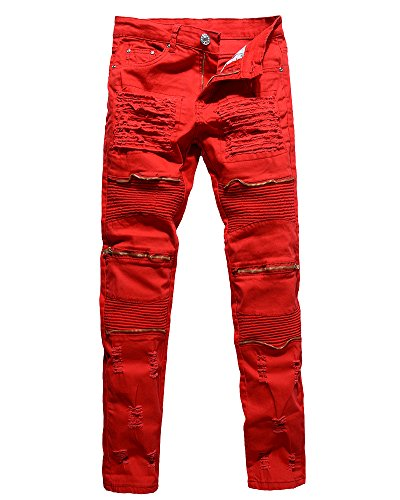 Herren Biker Jeans Stretch Denim Hose Slim Fit Zipper Zerrissen Jeanshosen Rot 32