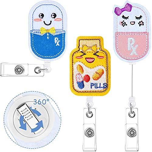 3 Pieces Pill Nurse Badge Reel Retractable Pill Bottle Badge Reel Happy Pill Girl Badge Holder Felt ID Name Badge Holder with 360 Degree Swivel Alligator Clip for Nurse Doctor Student Teacher