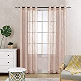 Sheer Voile Curtain Panels for Living Room Open Weave Linen Textured Grommet Sheer Window Curtains for Bedroom Two Panels 84 Inch Taupe