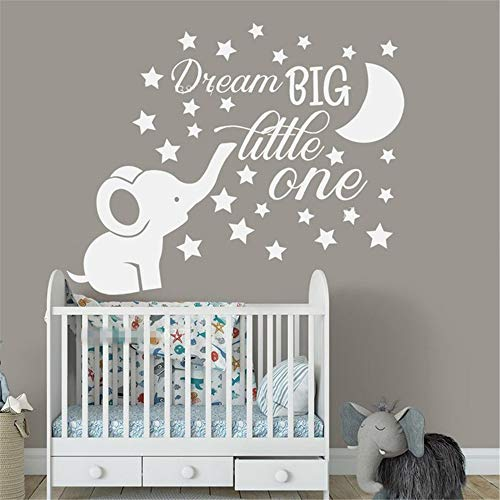 Sticker mural Sogno Big Little One Quote Decor Cute Elephant Moon Star Baby Kids Room Decal Nursery