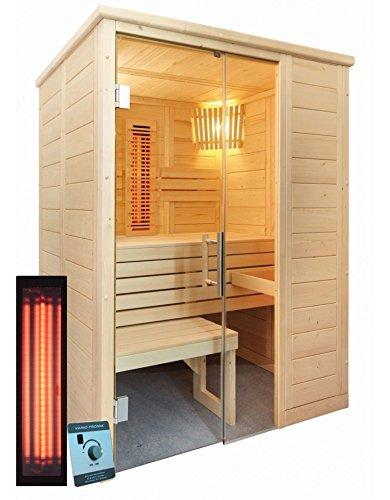 Massivholzsauna Badezimmersauna 160 x 110 cm Infrarot und finnischen Saunaofen