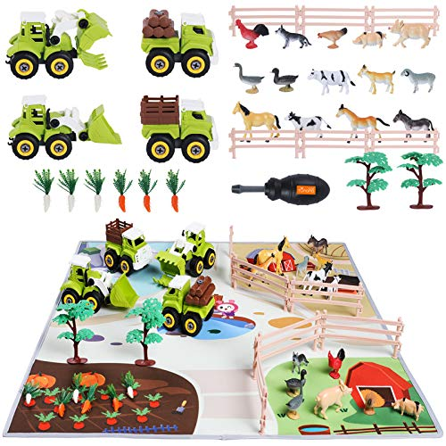TUMAMA Take Apart Vehicle Toys and Farm Playset with Large Activity Play Mat Play Farm Toys Sets with Farm Animal Figures and Car Sets for Kids Toddler and Infants