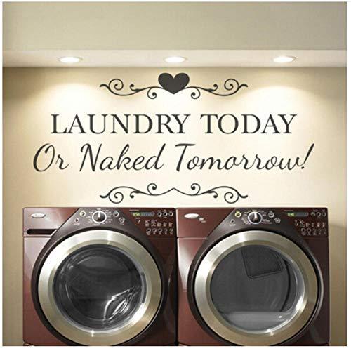 Wasschei muursticker citaat waskeuken teken muurkunst sticker afneembare moderne Home Room wasmachine winkel decoratie behang 57x27cm