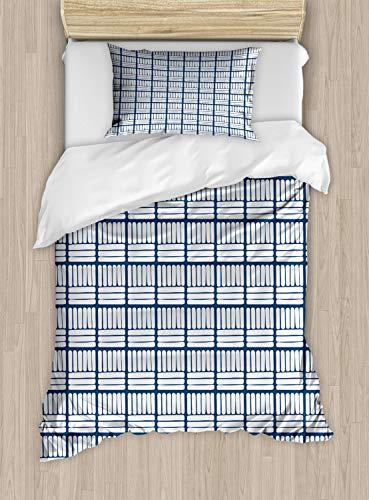 ABAKUHAUS Nederlands Dekbedovertrekset, Hand Getrokken Delft Stripes, Decoratieve 2-delige Bedset met 1 siersloop, 130 cm x 200 cm, Dark Blue and White