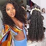 Eiazalin Brazilian Afro Kinky Curly Human Hair 4 Bundles 16'14'12'10' 100% Unprocessed Hair Weave Weft Big Hair for Black Women Natural Color