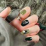rpbll 24pcs / set Green Jump Color False Nail con pegamento libre Rhinestone brillante Beauty Nail Art Tip DIY Accesorios de moda para damascomo muestra la imagen