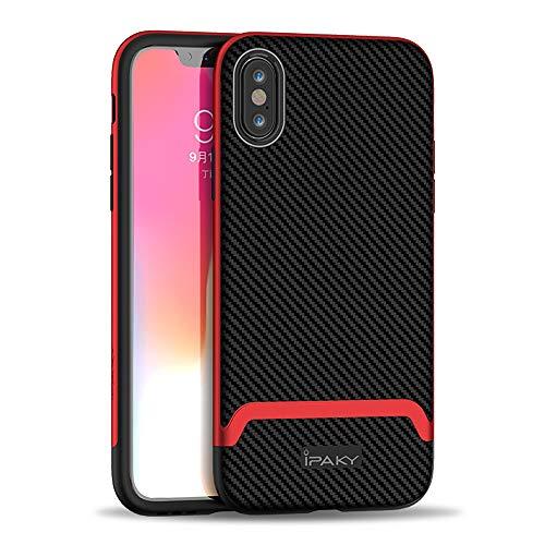 Ibrido Fibra di Carbonio Custodia Protettiva per iPhone XS Max, 6,5'' Antiurto Antipolvere Durevole Chiaro Slim Fit 2 in 1 PC TPU Shell Cover per iPhoneXS Max (Rosso)