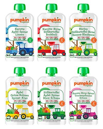 Bio Gemüse Quetschies - Pumpkin Organics QUERBEET (24 x 100g) Snacks für Kinder ab 12. Monat
