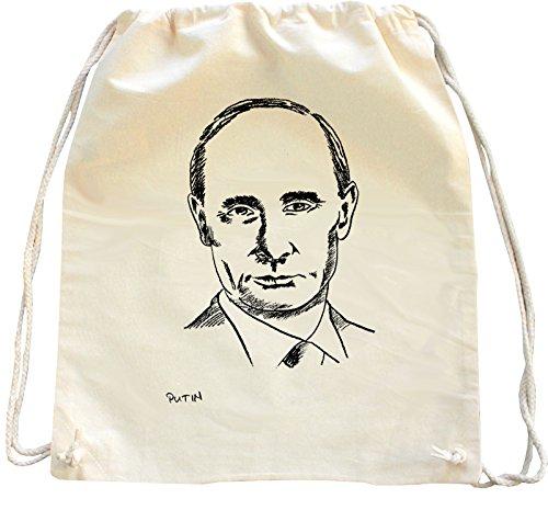 Mister Merchandise Turnbeutel Natur Rucksack Wladimir Putin, Farbe: Natur