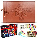 Scrapbook Albums, LUNIQI Leather Embossed Letter Cover Our Adventure Book, Hand Made DIY Collecting Photoes for Family, Party, Marry, Travel, Hold 3X5, 4X6, 5X7, 6X8, Stickers, Gift Box
