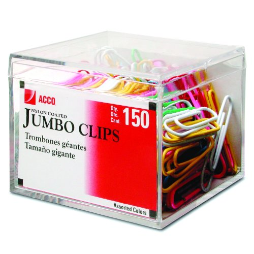 ACCO Multi-colored Nylon Coated Paper Clips, Smooth, Jumbo, 150/Box (72520)