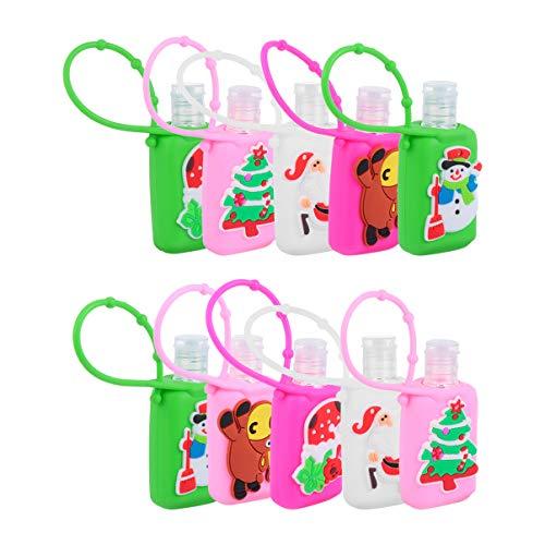 Cabilock 10 Juegos de Botellas de Llavero de Plástico de Viaje Navideño 30 Ml Botellas Recargables a Mano Portátiles Portadores de Botellas de Jabón Líquido con Funda para El Hogar Al Aire