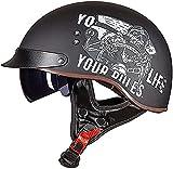 Medio casco de motocicleta, aprobado por DOT/EECE con visera solar para motocicleta, ciclomotor, Chopper Bobber, casco retro de perfil vintage para hombres y mujeres (color: E)
