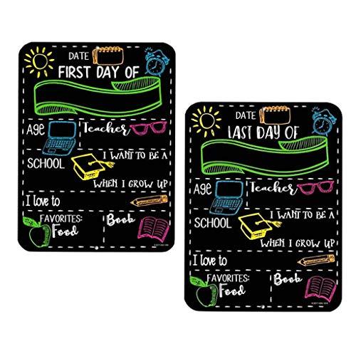 Lomsarsh 2PCS Primer día y último día de escuela Accesorios de pizarra Señalización para niños