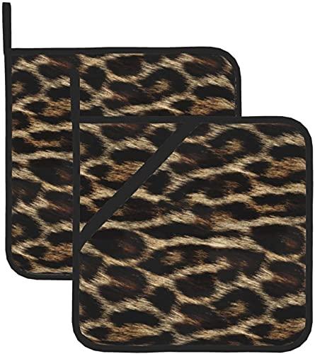 Guantes de cocina con estampado de leopardo natural para horno, guantes de cocina, lavables para cocinar y comedor
