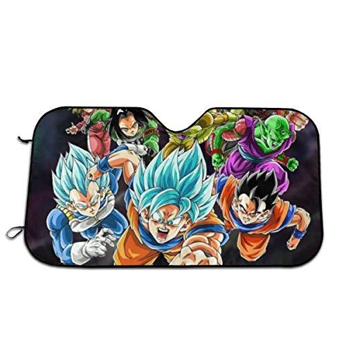 YEECUSTOM Dragon Ball Z Goku Vegeta Windshield Visor Can Folding Visor to Blocks UV Rays Sun Foldable Visors Cover with 4 Suction Cups 27.5 x 51 in
